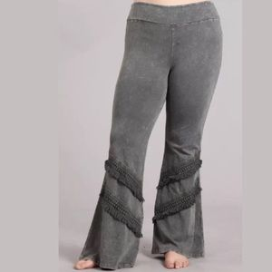 Pants - Plus Mineral Gray Taupe Fringe Bell Bottom Pants